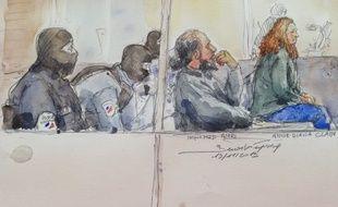 Mohamed Amri et Anne Diana Clain, l'aînée de la fratrie Clain, lors de leur procès le 19 novembre 2019.
