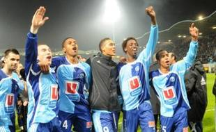 Le Havre's players celebrate after winning their French L2 football match Le Havre vs. Sedan, on April 22, 2008 at the Jules Dechaseaux stadium in Le Havre, western France. AFP PHOTO ROBERT FRANCOIS