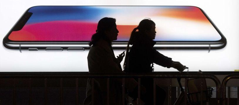 Une publicité pour l'iPhone X d'Apple en Chine.