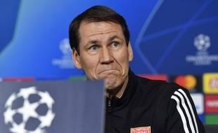 Rudi Garcia, ce mardi lors de la conférence de presse de veille de 8e de finale aller de Ligue des champions contre la Juve. PHILIPPE DESMAZES