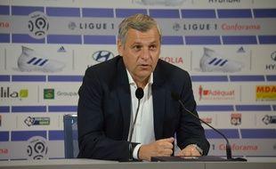 Bruno Genesio, ici lors de sa conférence de presse afin d'annoncer, ce samedi, qu'il ne prolongera pas son aventure sur le banc de l'OL.