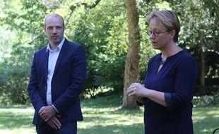 La maire de Rennes Nathalie Appéré et le candidat écologiste Matthieu Theurier, ici dans le parc Oberthür le 30 mai 2020.