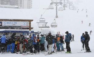 Le 7 mars 2017, à Tignes, en Savoie. Une avalanche a eu lieu ce mardi matin dans la station et a traversé une piste bleue sans faire de victime.