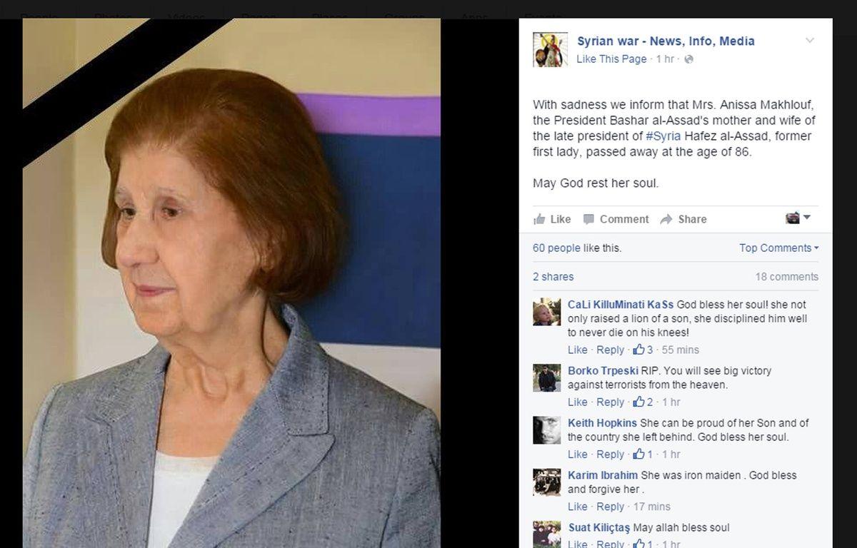Photo diffusée sur Facebook d'Anissa Makhlouf, la mère de Bachar al-Assad – Capture Facebook