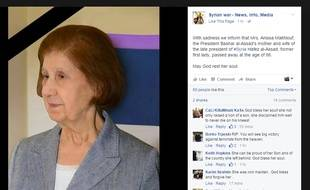 Photo diffusée sur Facebook d'Anissa Makhlouf, la mère de Bachar al-Assad
