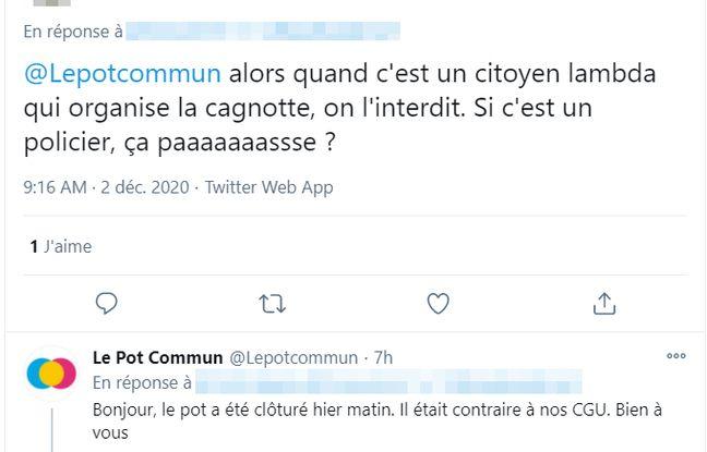 Dans un post Twitter, Le Pot Commun annonce que la cagnotte en soutien aux policiers de la BTC17 a été suspendue