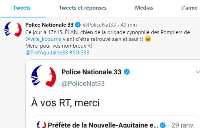 Annonce de la police nationale sur Twitter.