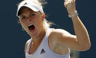 La joueuse de tennis, Melanie Oudin, lors de sa victoire au 3e tour de l'US Open face à Elena Dementieva, le 3 septembre 2008.