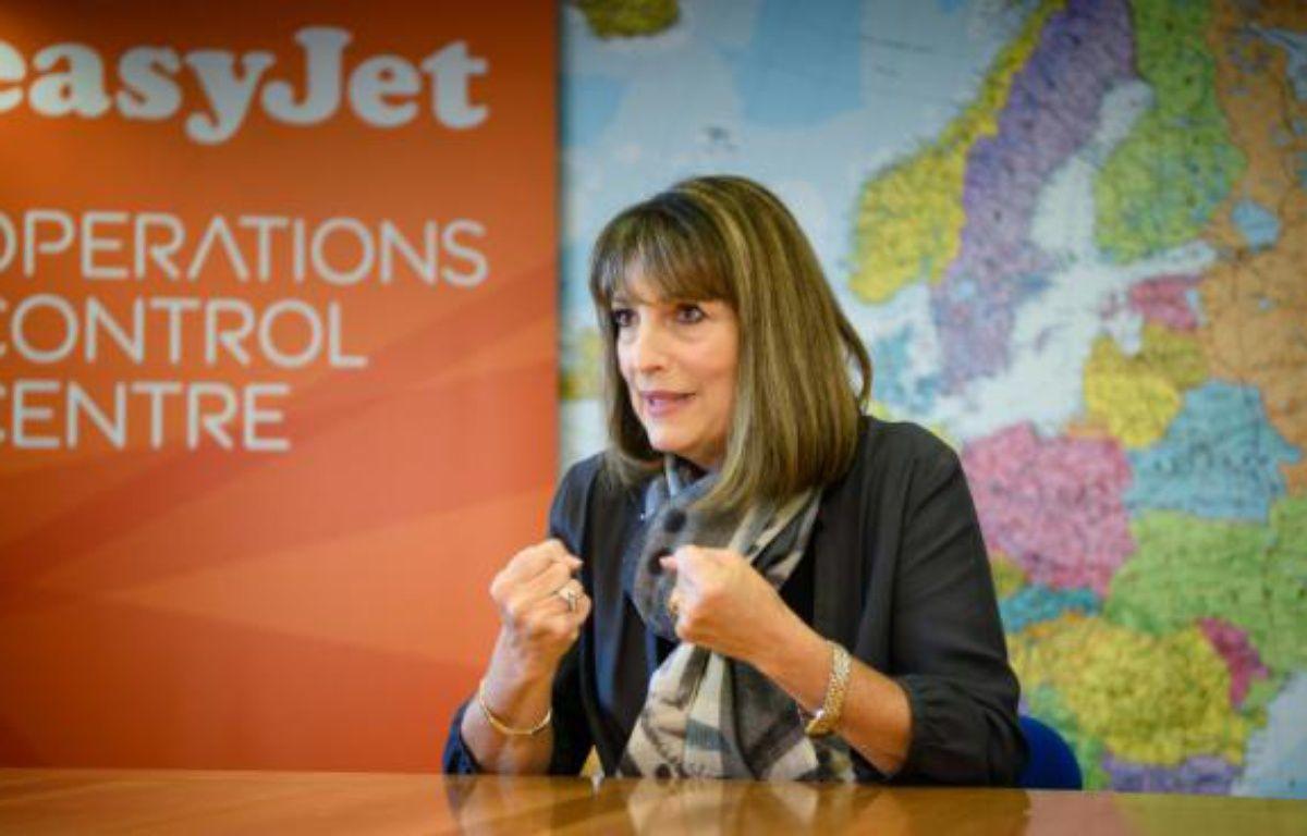 La directrice générale d'EasyJet Carolyn McCall lors d'un entretien à l'AFP, à Luton dans la banlieue nord de Londres, le 10 février 2016 – LEON NEAL AFP