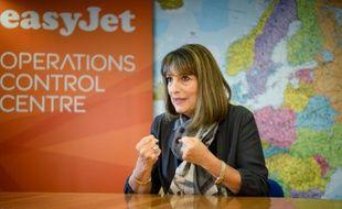 La directrice générale d'EasyJet Carolyn McCall lors d'un entretien à l'AFP, à Luton dans la banlieue nord de Londres, le 10 février 2016