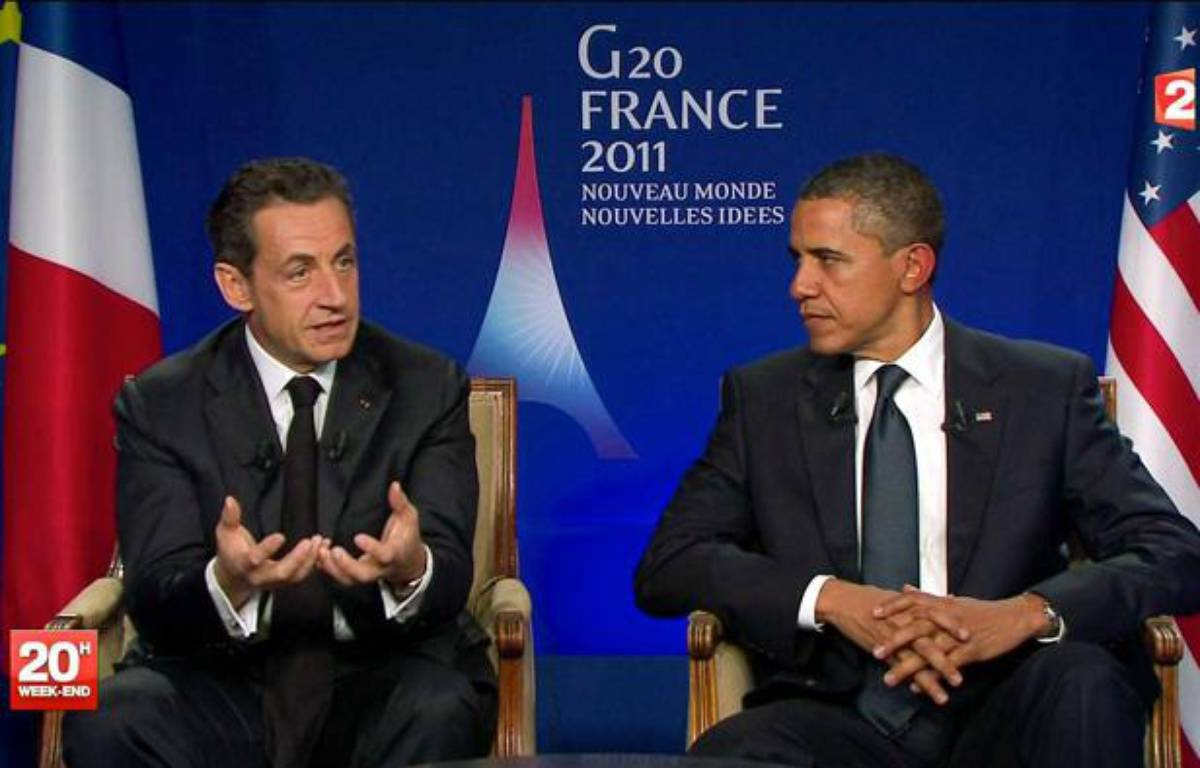 Nicolas Sarkozy et Barack Obama, lors de leur interview télévisée post-G20 le 4 novembre 2011, à Cannes. – AP/SIPA