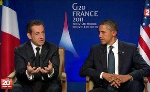 Nicolas Sarkozy et Barack Obama, lors de leur interview télévisée post-G20 le 4 novembre 2011, à Cannes.