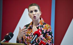 Mette Frederiksen, tête de liste des Sociaux-démocrates (SD), aux élections législatives au Danemark,  le 1er mai 2019 à  Aalborg.