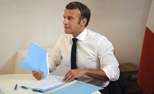 Emmanuel Macron lors du Conseil de défense du 11 août 2020.