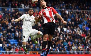 Karim Benzema a inscrit un doublé de la tête contre Bilbao.