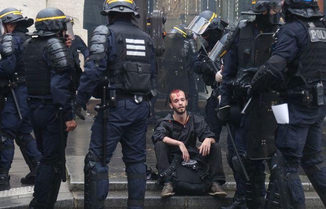 Un manifestant blessé le 22 mai 2018 à Paris.