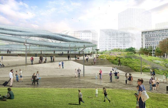 Vue de la façade nord de la future gare de Rennes.