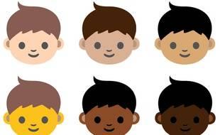 Les six types de peau proposés pour réformer les émoticônes par le consortium unicode.