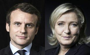 Montage AFP d'Emmanuel Macron et de Marine Le Pen, les deux candidats qualifiés pour le second tour de l'élection présidentielle.