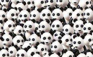 Lego défie ses fans de retrouver le chien caché parmi les pandas.