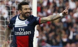 L'attaquant du PSG Ezequiel Lavezzi, le 17 mai 2014 au Parc des Princes contre Montpellier.