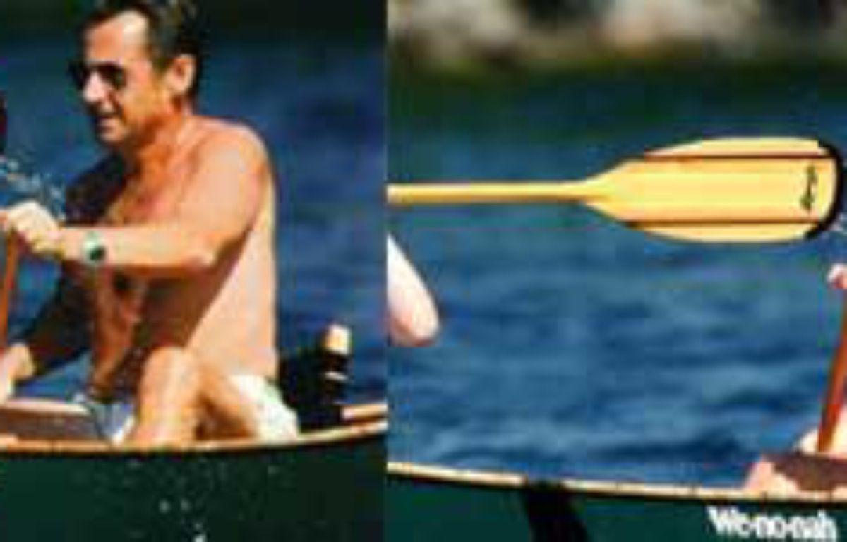 Nicolas Sarkozy en vacances. A gauche, la photo retouchée dans «Paris Match», à droite, la photo originale – DR