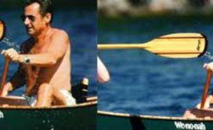 Nicolas Sarkozy en vacances. A gauche, la photo retouchée dans «Paris Match», à droite, la photo originale