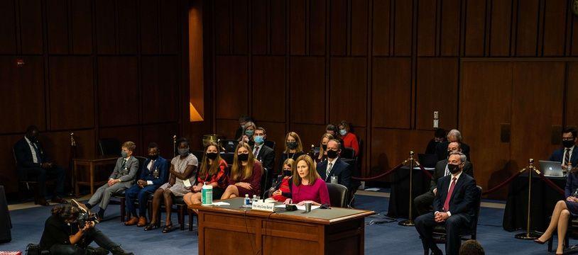 La juge Amy Coney Barrett devant la Commission du Sénat, le 12 octobre 2020.