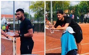 Jo-Wilfried Tsonga et Lucas Pouille sur les courts de la Villa Primrose à Bordeaux.