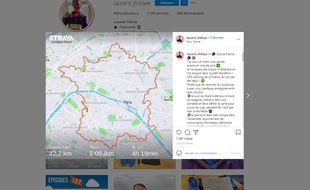 Un marathonien dessine une carte de France lors de ses 42,195 km de course dans les rues de Paris.