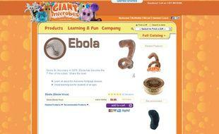 Capture d'écran du site internet de la compagnie Giant microbes Inc, qui vend des peluche du virus Ebola.