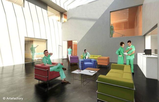 Le salon des blocs opératoires au sein du futur pavillon H d'Edouard Herriot à Lyon.