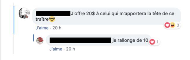 Une partie des insultes et menaces reçues par Loïc Branchereau sur Facebook.