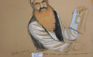 Khalid Cheikh Mohammed, cerveau présumé des attentats du 11 septembre 2001, lors d'une audience à Guantanamo, le 15 octobre 2012.
