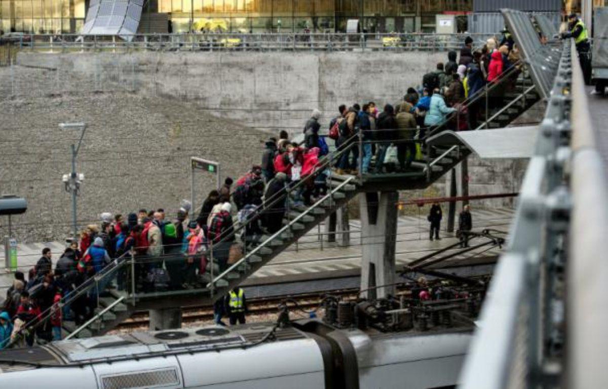 La police rassemble un groupe de migrants en provenance du Danemark, le 19 novembre 2015 près de Malmö, en Suède – JOHAN NILSSON TT NEWS AGENCY
