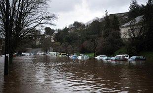 La ville de Morlaix (Finistère) sous les eaux, le 24 décembre 2013.