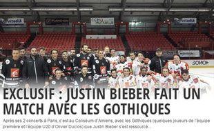 Le chanteur Justin Bieber est venu aire un entraînement de hockey avec les Gothiques d'Amiens, jeudi 22 septembre 2016.