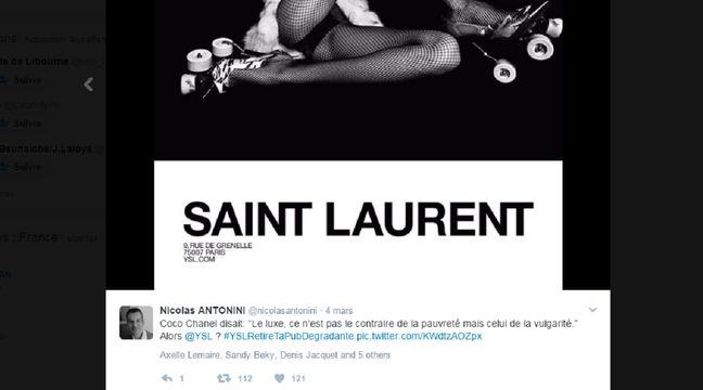 Capture d'écran d'un tweet dénonçant la nouvelle campagne de pub Yves Saint Laurent. – @nicolasantonini