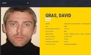 Extrait de la fiche de recherche de David Gras sur le site Europol