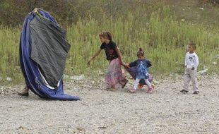 Lyon, le 28 aout 2012, évacuation d'un camp de Roms dans le quartier de Parilly, a St-Priest (Illustration).  CYRIL VILLEMAIN / 20 MINUTES