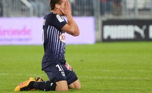 Mauro Arambarri, le jeune milieu uruguayen des Girondins après avoir manqué une occasion face au Gazelec Ajaccio, le 5 mars 2016 à Bordeaux.
