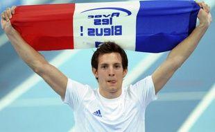 Renaud Lavillenie après son titre de champion d'Europe en salle à Turin, le 8 mars 2009