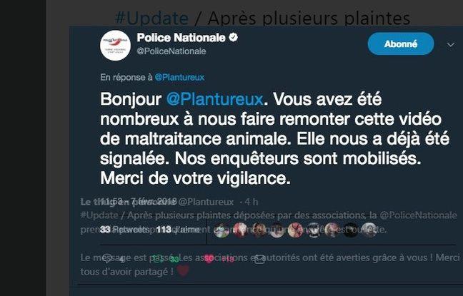 La police nationale indique s'être saisie de l'affaire du chien traînée par une motocross.