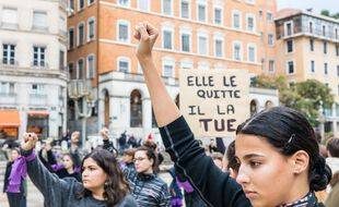 Manifestation contre les violences faites aux femmes en octobre 2019 à Lyon (illustration)