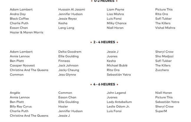 La liste des artistes qui ont participés au show