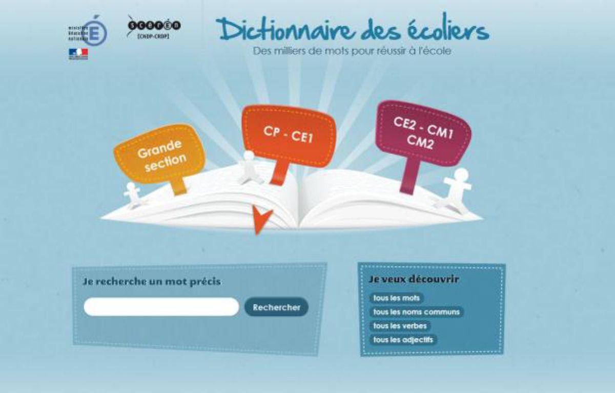 """Capture d'écran de la page d'accueil du site internet """"Le dictionnaire des écoliers"""" – Capture d'écran Centre National de Documentation Pédagogique"""