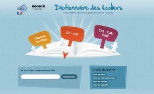 """Capture d'écran de la page d'accueil du site internet """"Le dictionnaire des écoliers"""""""