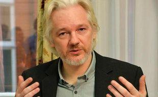 Le fondateur de Wikileaks Julian Assange le 18 août 2014 à l'ambassade d'Equateur à Londres, où il est réfugié depuis juin 2012