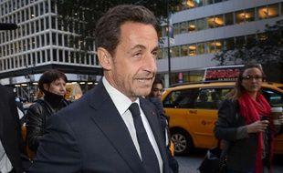 Nicolas Sarkozy le 11 ocotbre 2012 à New York où il est venu donner une conférence sur invitation d'une banque brésilienne.
