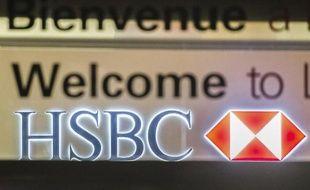 Logo d'HSBC à Lille, dans le nord de la France, photographié le 12 février 2015